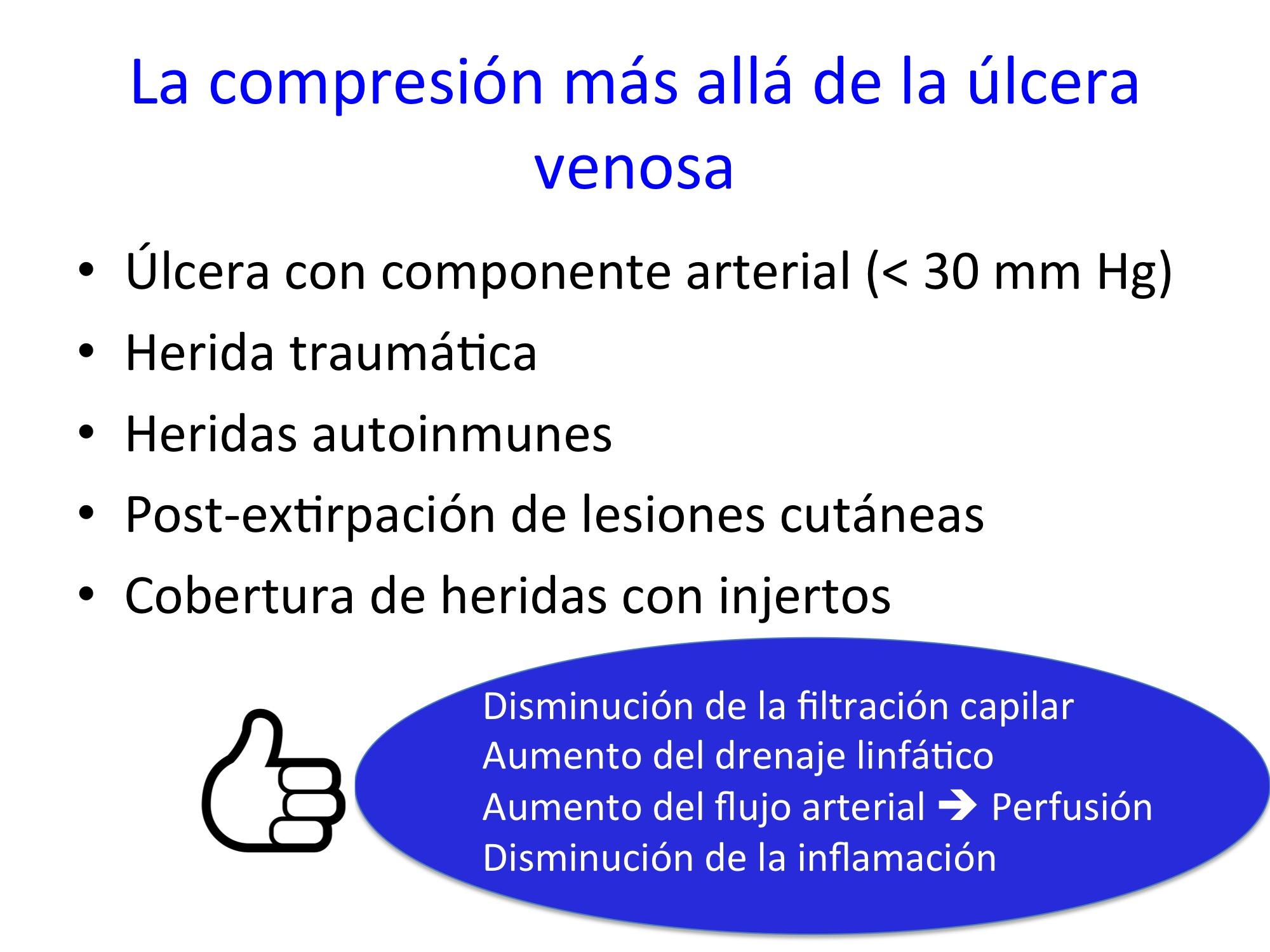 La compresión más allá de la úlcera venosa